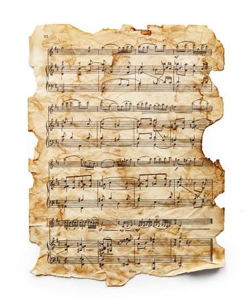 Vintage music sheet isolated on white background