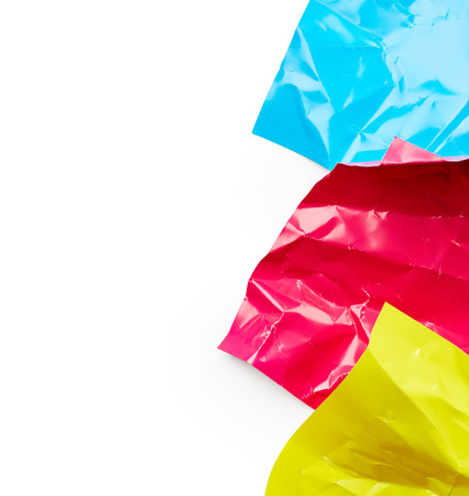 colored paper: Crumpled colored paper isolated on white background