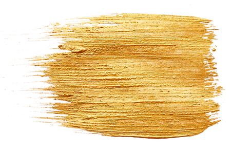 Strokes of golden paint isolated on white background 스톡 콘텐츠