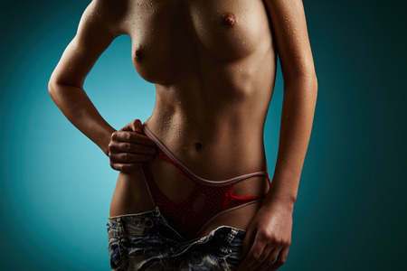 Woman body on blue background