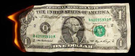 arsonist: Burning dollar on black background
