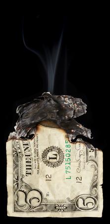 arsonist: Dollar on black background