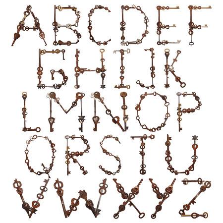 key words art: Alphabet from old keys isolated on white background. Set Stock Photo