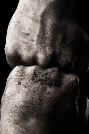 resistance: Resistance. Dirty male clenched fist Stock Photo