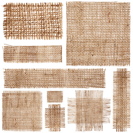 burlap: Set of pieces linen fabric isolated on white background