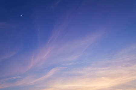 cirrus clouds: Cirrus clouds in evening sky. Sunset