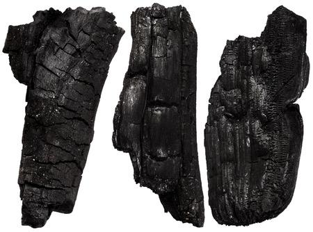 burnt wood: Burnt wood isolated on white background