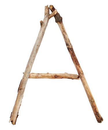 stick: Alphabet from sticks isolated on white background Stock Photo
