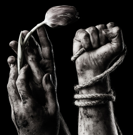 shadow man: Set of hand with flower and hand with rope Stock Photo