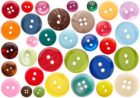 green button: Set of sewing buttons isolated on white background