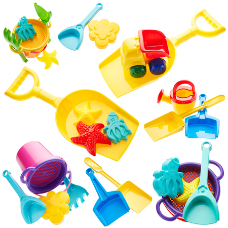 sand toys: Set of childrens toys isolated on white background Stock Photo