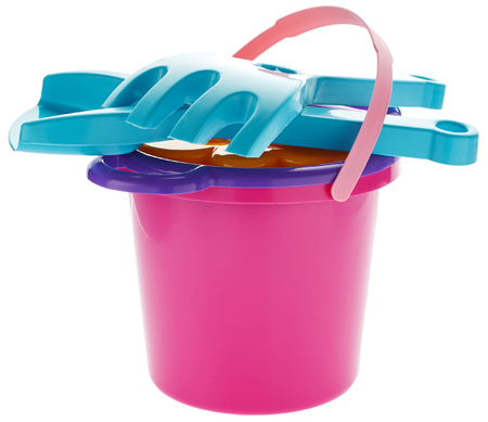 bucket and spade: Childrens bucket, spade and rake isolated on white background Stock Photo
