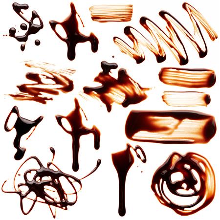 chocolate melt: Set di blob cioccolato liquido isolato su sfondo bianco Archivio Fotografico