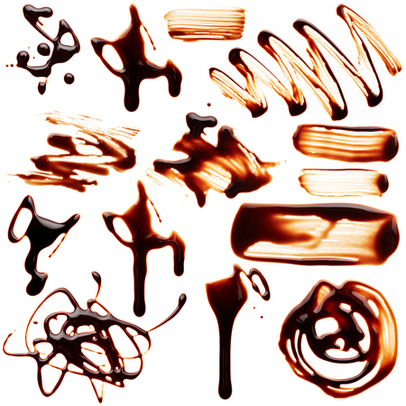 milk chocolate: Set of blobs liquid chocolate isolated on white background