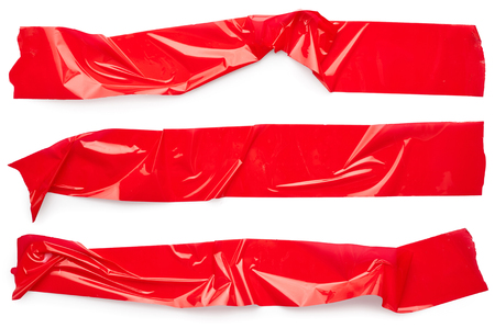 Set of red adhesive tape isolated on white background