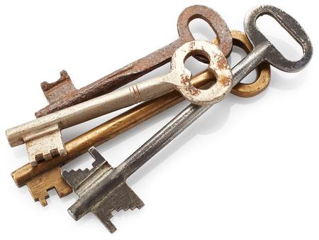large doors: Old big keys isolated on white background