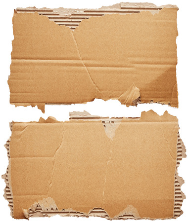 cardboard texture: Pieces of cardboard isolated on white background
