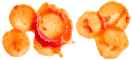 tomato catsup: Ketchup splashes isolated on white background