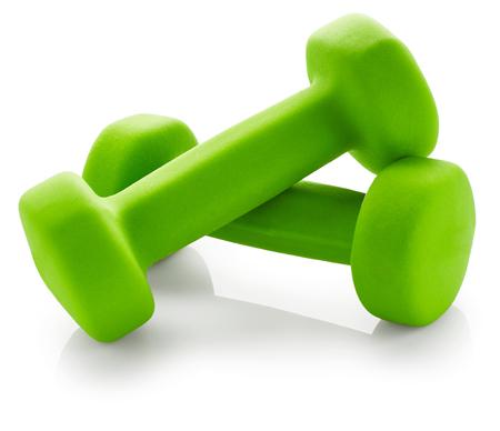 dumbbell: Green dumbbells isolated on white background