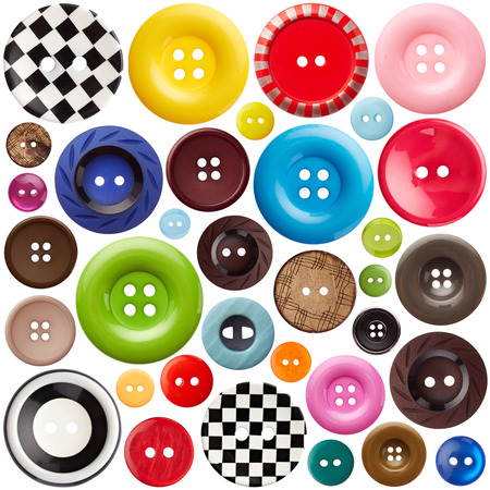 sewing buttons: Set of sewing buttons isolated on white background