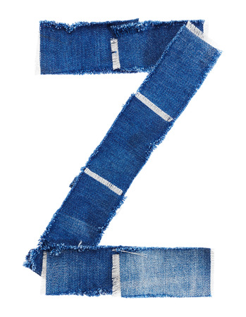 z fold: Alphabet from jeans fabric isolated on white background. Letter Z