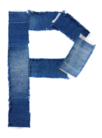close p: Alphabet from jeans fabric isolated on white background. Letter P Stock Photo