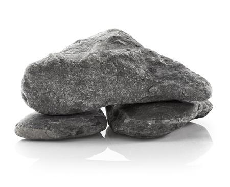 stones isolated: Grey stones isolated on white background