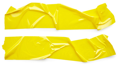 Set of yellow scotch tape isolated on white background