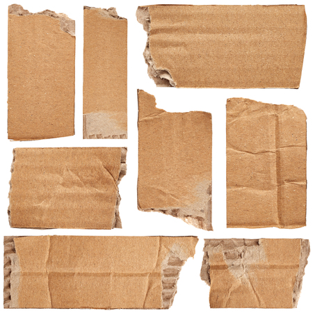cardboard box: Set of crumpled cardboards isolated on white background