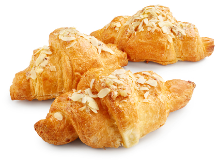 buttery: Fresh sweet croissants isolated on white background