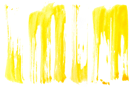 yellow paint: Strokes of yellow paint isolated on white background