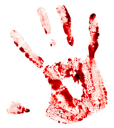 blood stain: Bloody handprint isolated on white background Stock Photo