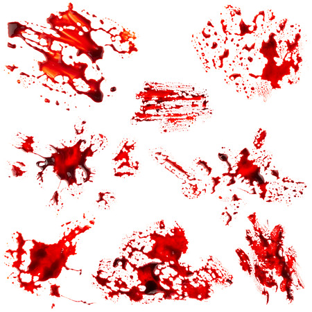 blood stain: Set of bloodstain isolated on white background