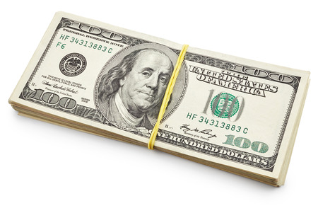 one hundred dollars: Pack of one hundred dollars isolated on white background Stock Photo