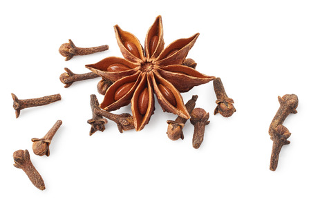 Star anise and cloves isolated on white background