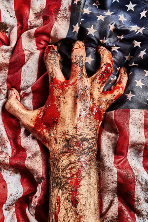 Male hand protect american flag. Freedom concept