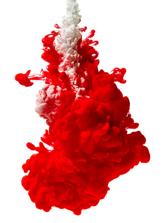 Splash of red paint isolated on white background