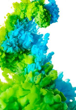 Splash of blue and green paint isolated on white background
