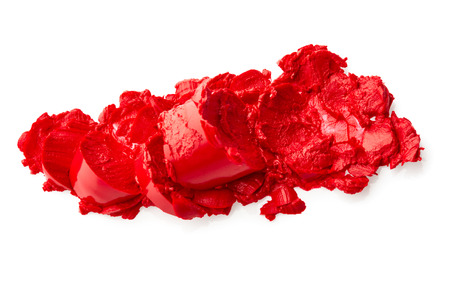 Red crushed lipstick isolated on white background Stock Photo