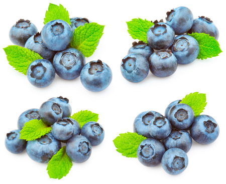 wildberry: Set of blueberries with green leaves isolated on white background
