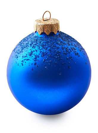 blue ball: Blue christmas ball isolated on white background