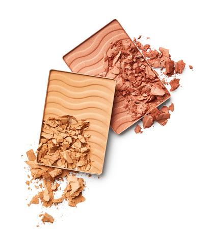 blush: Crushed face powder and blush isolated on white background