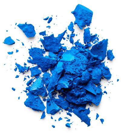 eye shadow: Crushed blue eye shadow isolated on white background
