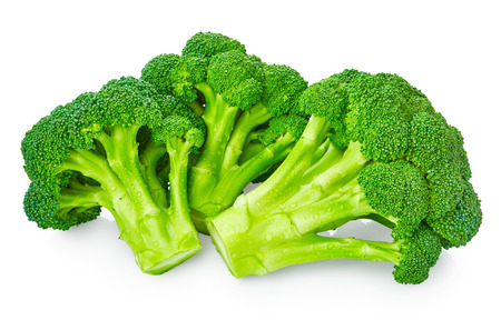 Fresh broccoli with drops of water isolated on white background