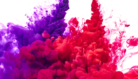 Splash of red and purple paint isolated on white background