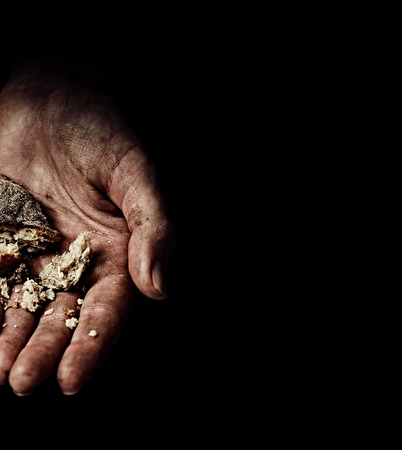 disadvantaged: Hands of beggar. Poverty concept