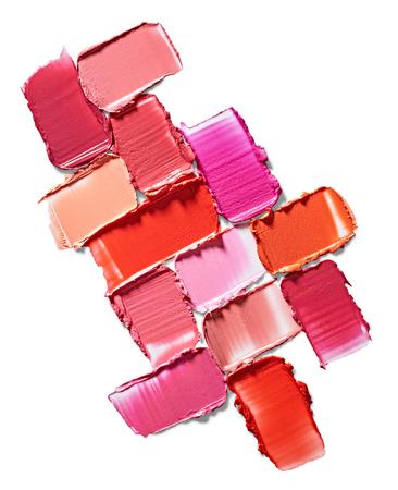 Set of lipstick stroke isolated on white background