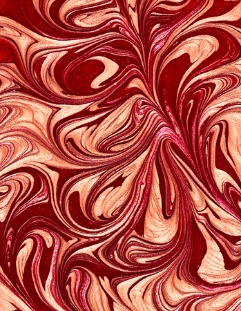salon background: Abstract nail polish texture with red and golden