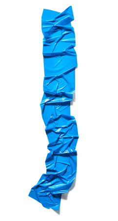 Blue adhesive tape piece isolated on white background Reklamní fotografie