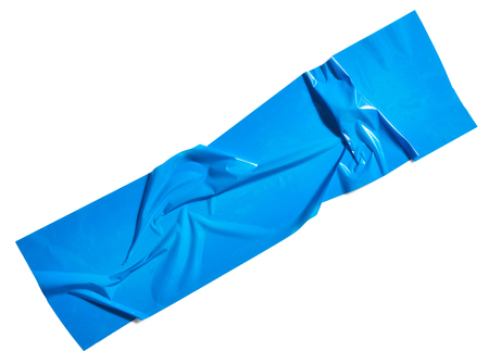 Blue scotch tape piece isolated on white background Stock Photo